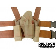 Deltacs CQC Drop leg Tactical Holster w/Magazine & Light Case for Glock - Tan